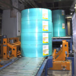 Transfer- and lifting car for board rolls, M-Real Oyj, Tako.